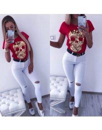 Тениска със златист череп в червено - код 2958