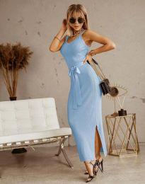 Дълга дамска рокля в светлосиньо с панделка - код 6166