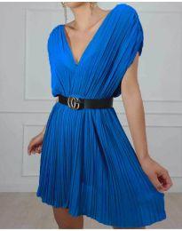 Изчистена рокля в цвят синьо - код 5670