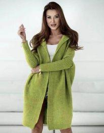 Атрактивна дълга плетена дамска жилетка в зелено - код 1184