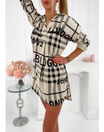 Дамска рокля с ефектен десен в бежово - код 5456
