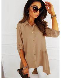 Асиметрична риза в цвят капучино - код 5689