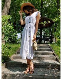 Бяла дамска рокля с колан и копчета - код 669