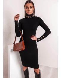 Вталена дамска рокля в черно - код 11513