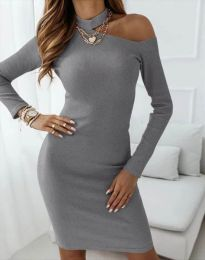 Атрактивна дамска рокля в сиво - код 4859