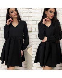 Свободна рокля с дълги ръкави в черно - код 542
