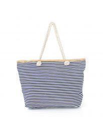 Плажна чанта на райе в тъмносиньо - код H-9030