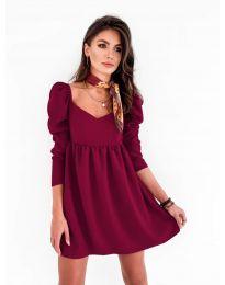Елегантна рокля в бордо - код 390