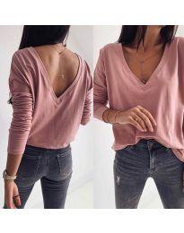 Дамска блуза с изрязан гръб в цвят пудра - код 3376