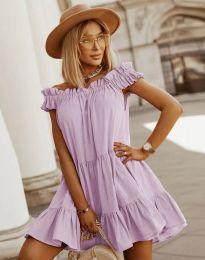 Свободна кокетна рокля в светлолилаво - код 6969
