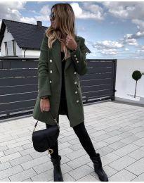 Дълго дамско палто в маслено зелено - код 189