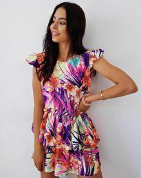 Атрактивна дамска рокля с флорален десен - код 7398 - 2