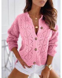 Къса дамска жилетка с копчета в розово - код 6533