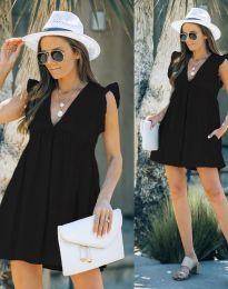 Къса дамска рокля в черно - код 7141