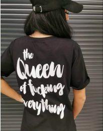 Дамска тениска в черно с ефектен принт на гърба - код 499