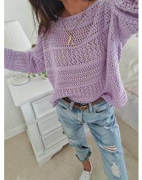 Дамска плетена блуза в лилаво - код 2538