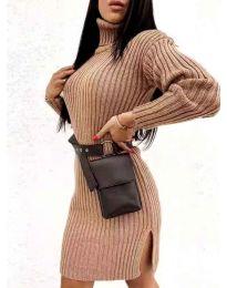 Дамска рокля с поло яка в кафяво - код 6867