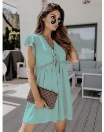 Свободна рокля в цвят тюркоаз - код 2093