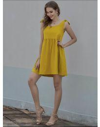 Изчистена рокля в цвят горчица - код 2255