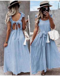 Дълга рокля с ефектен гръб в светлосиноьо - код 4806