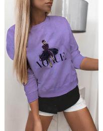 Дамска блуза с принт в лилаво - код 3995