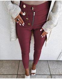 Ефектен дамски панталон в цвят бордо - код 1874