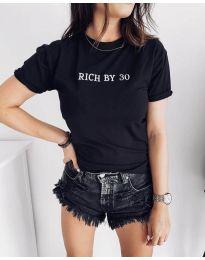 Черна дамска тениска с надпис - код 951
