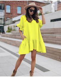 Свободна дамска рокля в жълто - код 748
