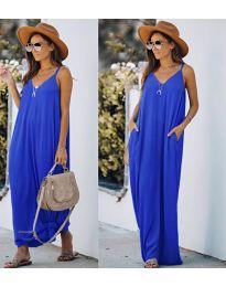 Свободна дълга рокля в тъмно синьо - код 0209