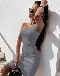 Вталена рокля в сиво с едно рамо - код 6412