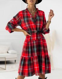 Карирана дамска рокля в червено - код 6842