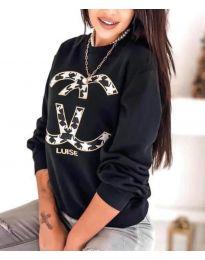 Дамска черна блуза с принт - код 8295