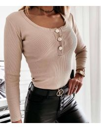 Изчистена дамска блуза в бежово - код 4155
