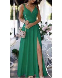 Елегантна дълга рокля в зелено - код 8489