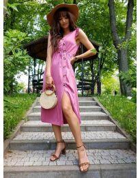 Розова дамска рокля с колан и копчета - код 669