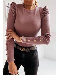 Дамска блуза в цвят пудра - код 4157