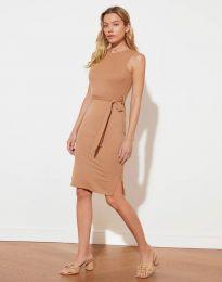 Дамска рокля с колан в капучино - код 12950