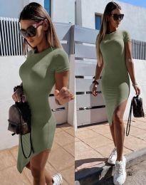 Стилна дамска рокля в масленозелено - код 8391