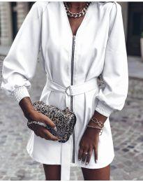 Дамска рокля с цип в бяло - код 820