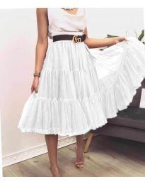 Стилна пола в  бяло - код 2060