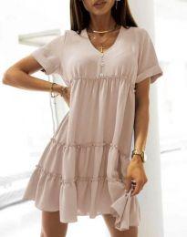 Свободна къса рокля в бежово - код 7205
