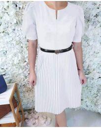 Елегантна рокля с плисирана долна част в бяло - код 808