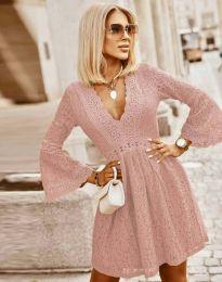 Елегантна рокля в цвят пудра - код 6239