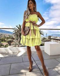 Кокетна дамска рокля в жълто с панделка - код 3065