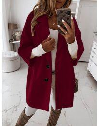 Дамско палто с копчета в бордо - код 413