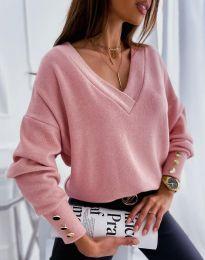 Изчистена дамска блуза в цвят пудра - код 5236