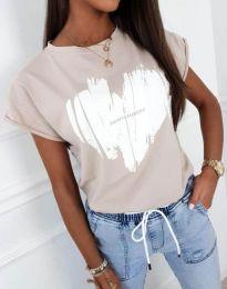Атрактивна тениска с принт в бежово - код 11901
