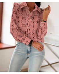 Розова риза с дълги ръкави и фигурален десен - код 653
