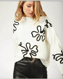Дамска блуза с ефектен десен в бяло - код 375