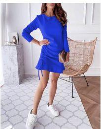 Дамска рокля в тъмно синьо - код 832